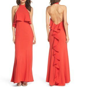 XSCAPE Red Sleeveless Halter Ruffle Formal Gown